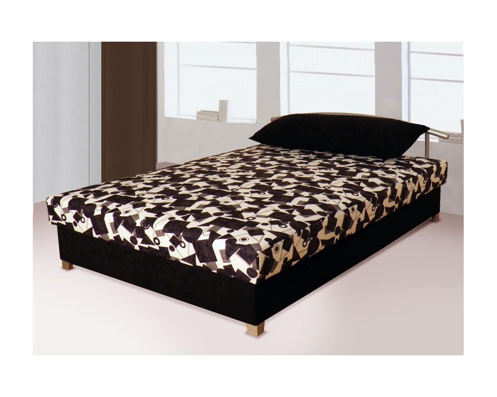 Zvýšená čalouněná postel s úložným prostorem ZLATKA, 140x200 černá