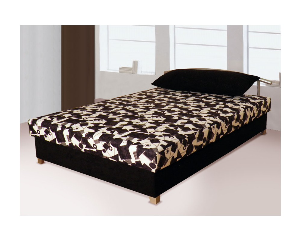 Zvýšená čalouněná postel s úložným prostorem ZLATKA, 160x200 černá