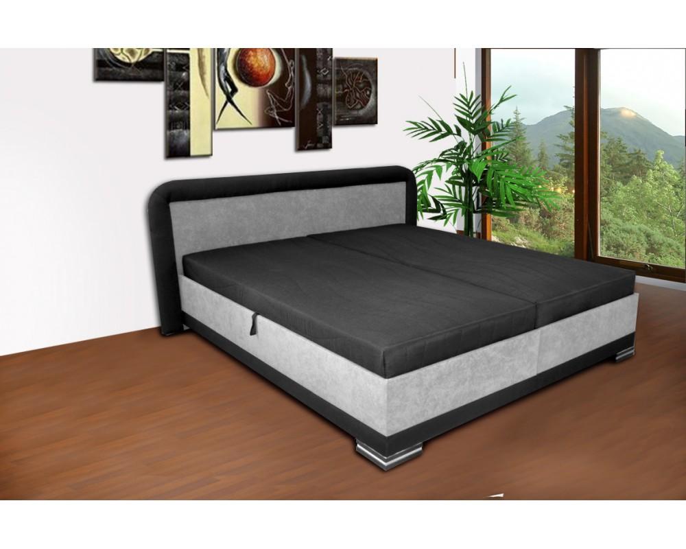 Zvýšená čalouněná postel s úložným prostorem JAREK, 180x200 šedá