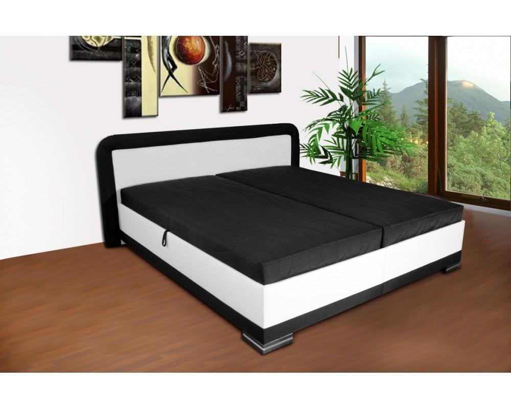 Zvýšená čalouněná postel s úložným prostorem JAREK, 180x200 bílá