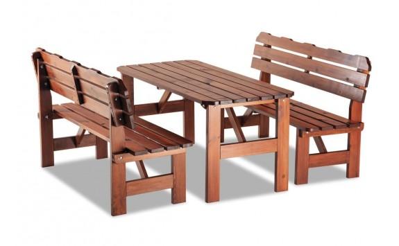 Zahradní sestava - stůl a lavice ULMA, masiv borovice