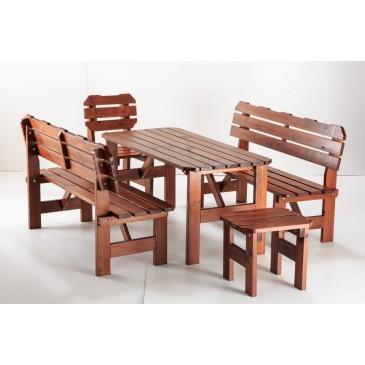 Zahradní sestava - stůl, lavice, židle ULMA, masiv borovice