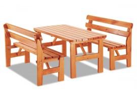 Zahradní sestava - stůl a lavice LAND, masiv borovice