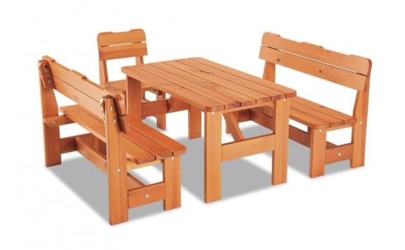 Zahradní sestava - stůl, lavice, židle ULMA JUNIOR, masiv borovice