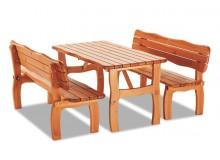 Zahradní sestava - stůl a lavice TROL, masiv borovice