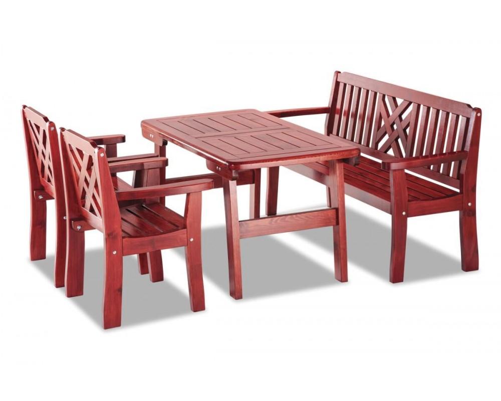 Zahradní sestava - stůl, lavice, židle BRUNO, masiv borovice