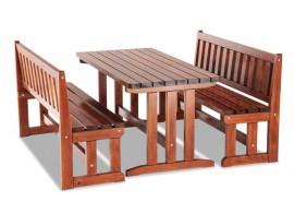 Zahradní sestava - stůl a lavice MARKETA, masiv dub