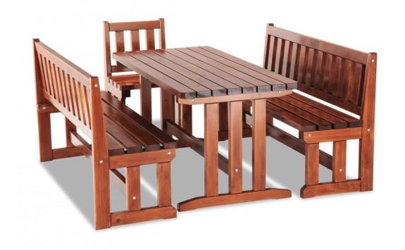 Zahradní sestava - stůl a lavice MARKETA, masiv borovice