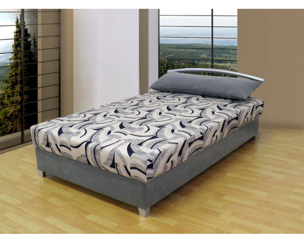 Zvýšená čalouněná postel s úložným prostorem KATKA, 120x200, šedá