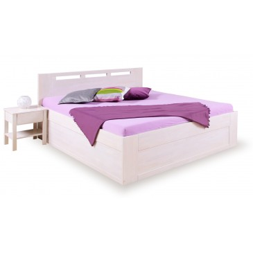 Zvýšená postel s úložným prostorem VALENCIA senior 160x200, 180x200, masiv buk - bílá
