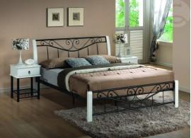 Manželská postel dvoulůžko CS4020, dřevo-kov, 160x200, bílo-černá