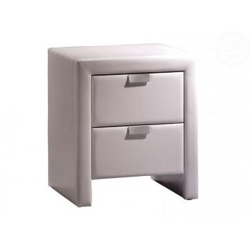 Moderní čalouněný noční stolek 2 zásuvkový CS4001, bílý
