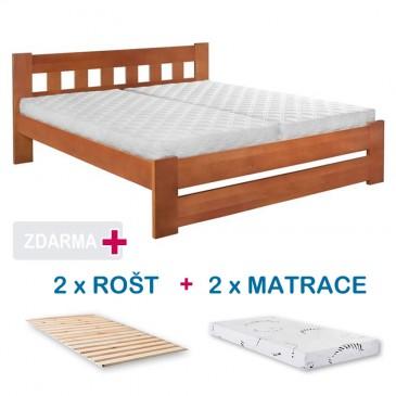 Manželská postel BARA s roštem a matrací ZDARMA 180x200, masiv buk, ořech