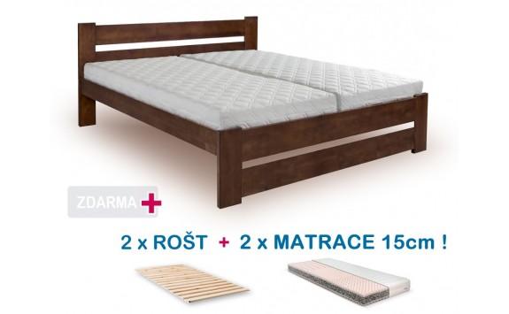 Manželská postel HANA NEW s roštem a matrací ZDARMA 180x200, masiv borovice, ořech