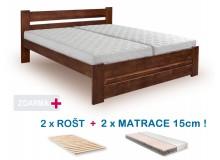 Manželská postel HANA s roštem a matrací ZDARMA 180x200, masiv borovice, ořech