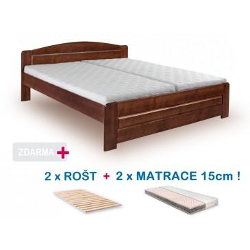 Manželská postel LADA s roštem a matrací ZDARMA 180x200, masiv borovice, ořech