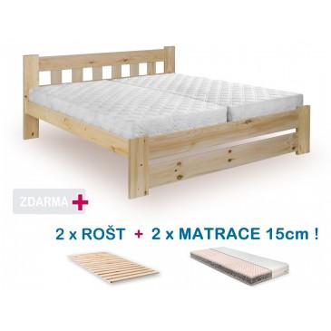 Manželská postel BARA s roštem a matrací ZDARMA 180x200, masiv borovice