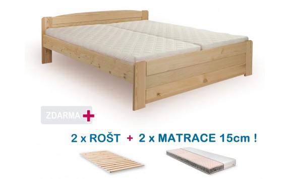 Manželská postel LADA s roštem a matrací ZDARMA 180x200, masiv borovice