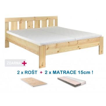 Manželská postel FILIP s roštem a matrací ZDARMA 180x200, masiv borovice