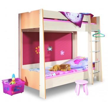 Poschoďová postel pro dvě děti 90x200 PA-16-PETRA, bříza-oranžová
