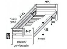 Dětská postel jednolůžko DOMINO se zábranou, dělené čelo D101, masiv smrk