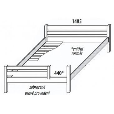 Dětská postel DOMINO 140x200, dělené čelo D102, masiv buk