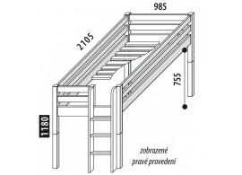 Zvýšené jednolůžko - postel DOMINO D905-TZ, masiv smrk