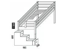 Zvýšené jednolůžko - postel DOMINO D905 se schůdky, masiv smrk