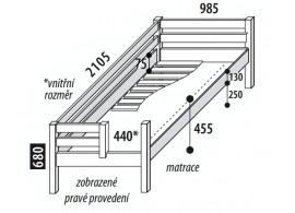 Dětská postel jednolůžko DOMINO se zábranou, dělené čelo D101, masiv buk