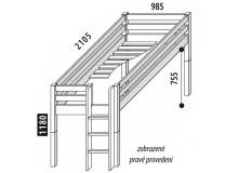 Zvýšené jednolůžko - postel DOMINO D905 s čelním vstupem, masiv buk