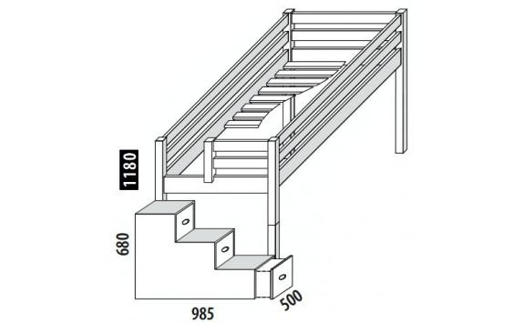 Zvýšené jednolůžko - postel DOMINO D905 s čelním vstupem, masiv smrk