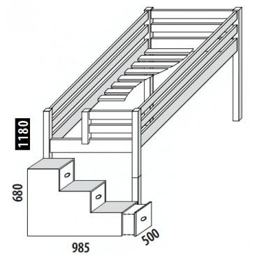 Zvýšené jednolůžko - postel DOMINO D905 se schůdky, masiv buk