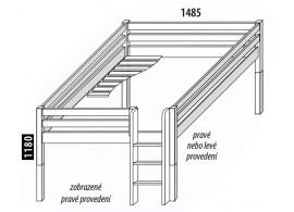 Zvýšená postel - jednolůžko 140x200 DOMINO, dělené čelo D938, masiv smrk