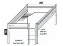Zvýšená postel - jednolůžko 140x200 DOMINO, dělené čelo D938, masiv buk