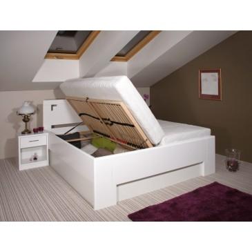 Zvýšená postel s úložným prostorem DELUXE 2. 160x200, 180x200, masiv buk, bílá