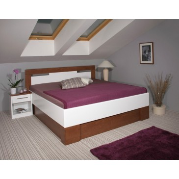 Zvýšená postel s úložným prostorem VAREZZA 5 senior 160x200, 180x200, masiv buk, ořech-bílá