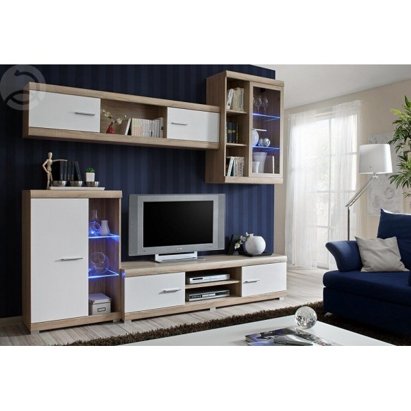 Moderní obývací stěna GRENADA II, dub sonoma-bílá