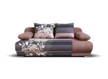 Rozkládací pohovka s úložným prostorem FUTON, hnědá - pro dvě osoby, 198 cm