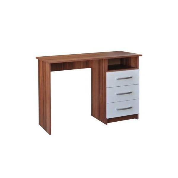 Psací PC stůl se skříňkou IA60044, bílá-ořech