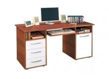 Psací PC stůl se skříňkou a šuplíky IA60194, ořech-bílá