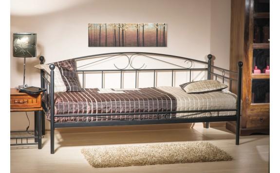 Kovová postel - jednolůžko ANCARA, 90x200, černá