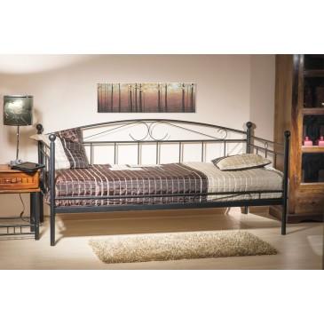 Kovová postel - jednolůžko CS4016, 90x200, černá