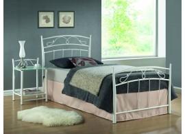 Bílá kovová postel - jednolůžko SIENA 90x200