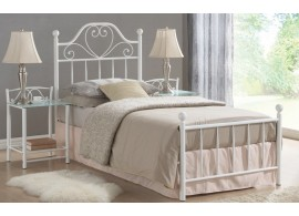 Bílá kovová postel - jednolůžko LIMA 90x200