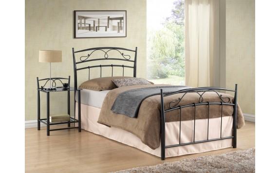 Kovová postel - jednolůžko SIENA, 90x200, černá