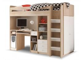 Patrová postel se skříňí, knihovnou a stolem UNITA, dub sonoma/bílá, PRAVÁ
