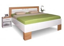 Manželská postel z masivu VAREZZA 1 senior 160x200, 180x200, masiv buk, bílá-přírodní buk