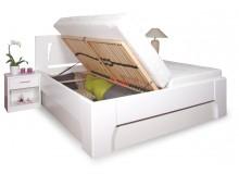 Manželská postel s úložným prostorem OLYMPIA 1. senior 160x200, 180x200, masiv buk, bílá