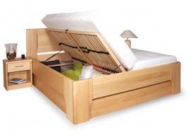 Manželská postel s úložným prostorem OLYMPIA 2. senior 160x200, 180x200, masiv buk