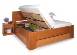 Manželská postel s úložným prostorem OLYMPIA 3. senior 160x200, 180x200, masiv buk, třešeň